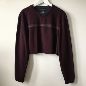 Vintage Sweaters - vintage Plum Purple Oversized Cropped Sweater